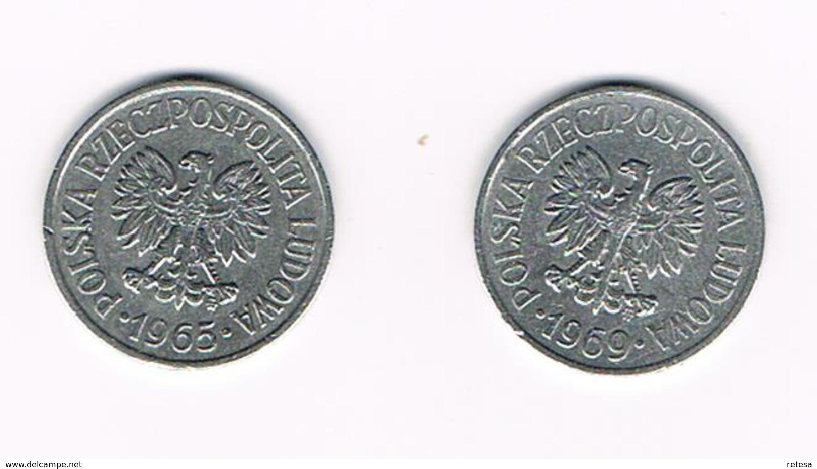 POLEN  2 X 20 GROSZY  1965/69 - Polen
