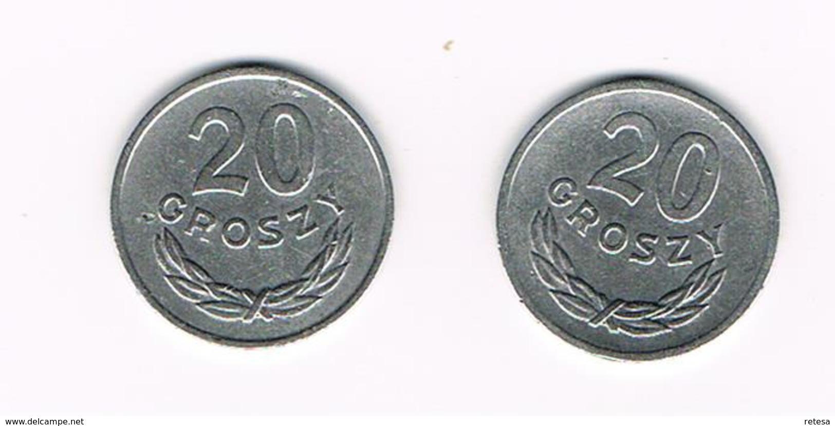 POLEN  2 X 20 GROSZY  1965/69 - Pologne