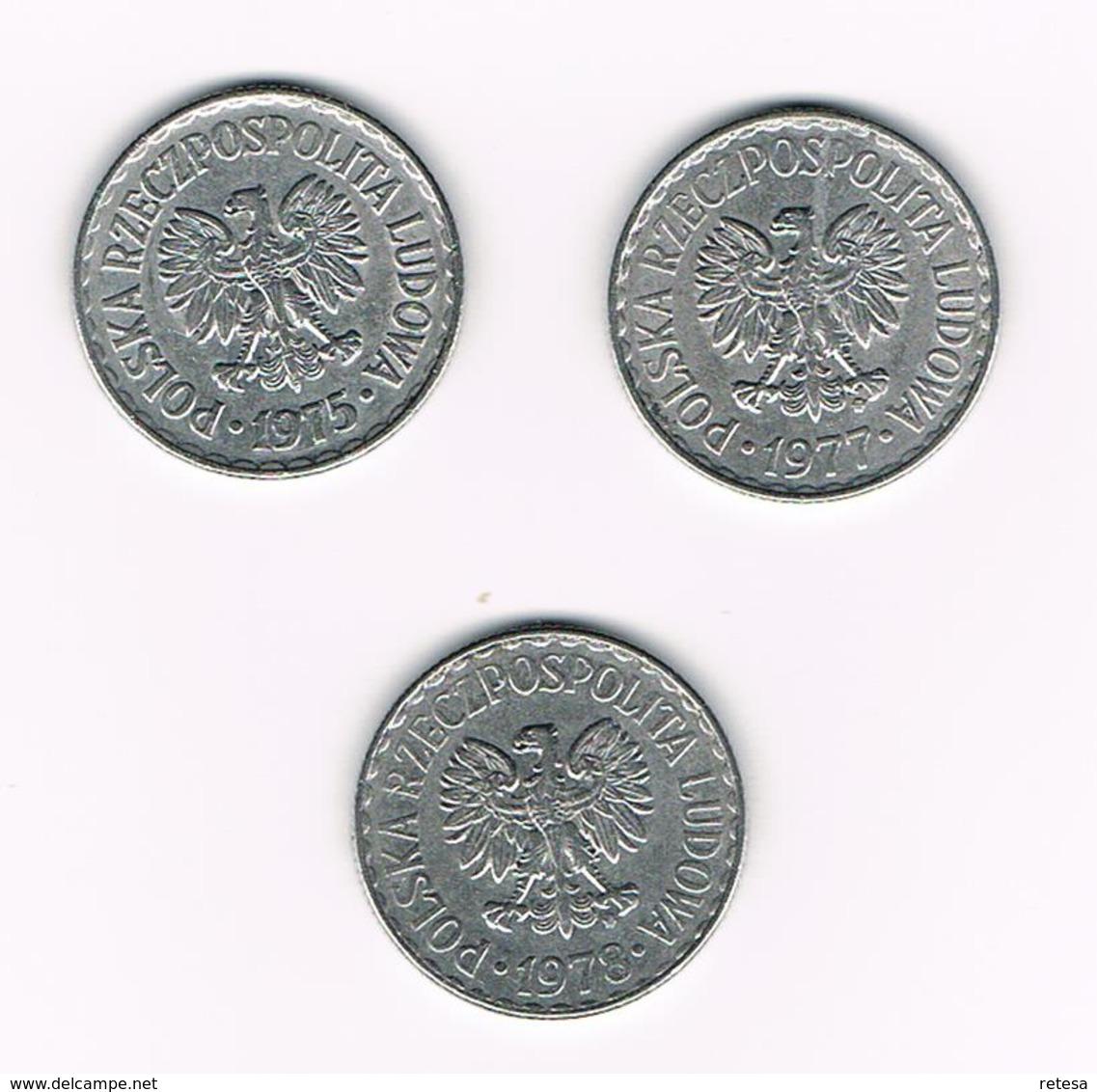 POLEN  3 X 1 ZLOTY  1975/77/78 - Pologne