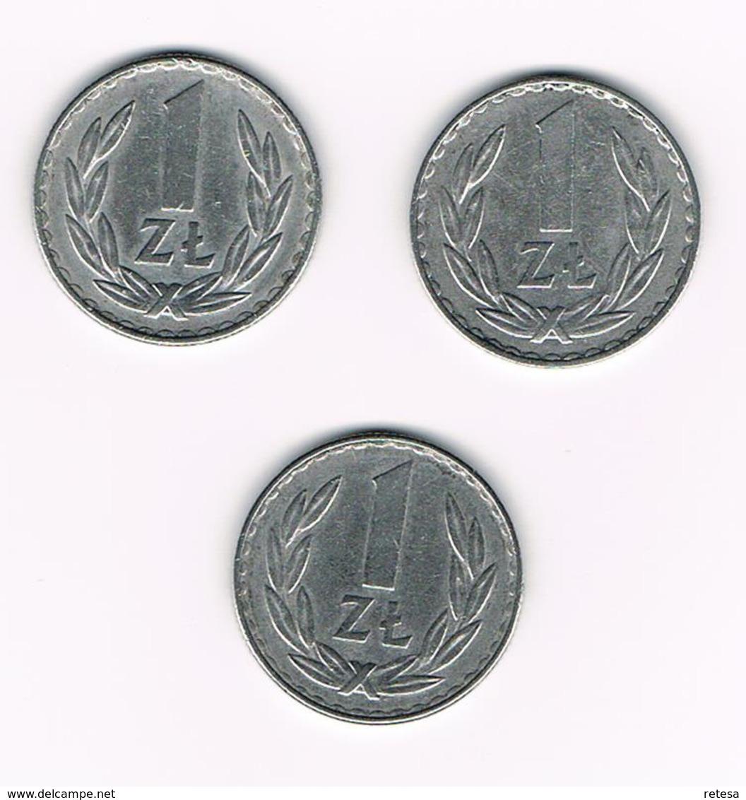 POLEN  3 X 1 ZLOTY  1975/77/78 - Polen
