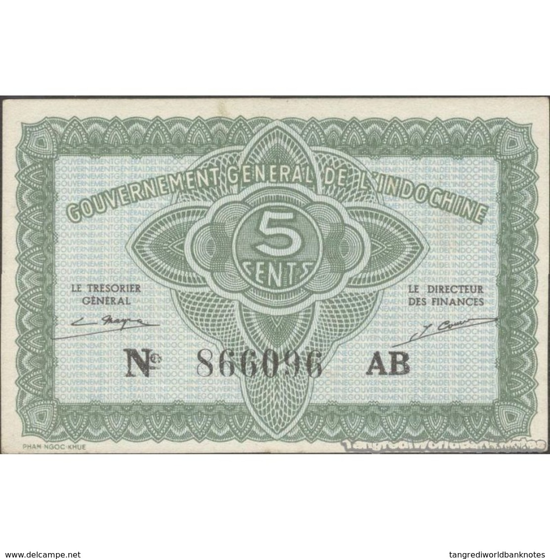 TWN - FRENCH INDO-CHINA 88a - 5 Cents 1942 Serial # Format 123456XX - Suffix AB AXF - Indochina