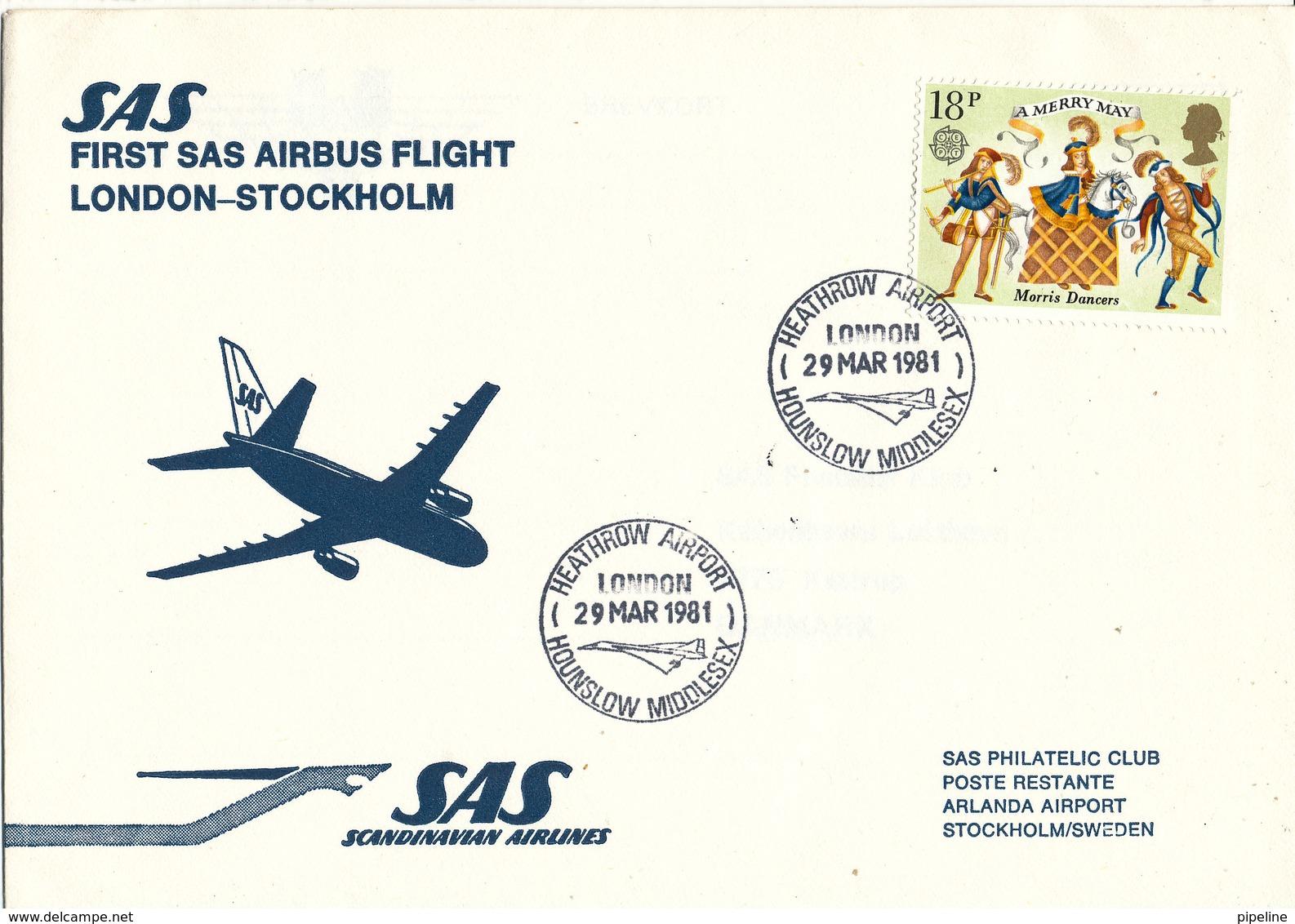 Great Britain First SAS Flight Airbus London - Stockholm 29-3-1981 - 1952-.... (Elizabeth II)