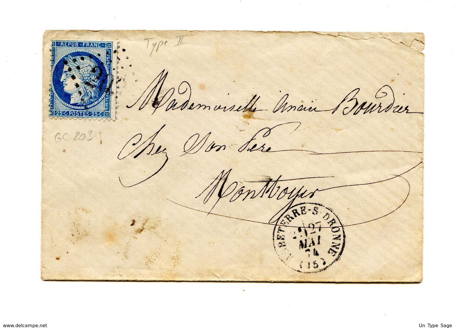 France - Cérès N°60 II - Lettre - GC 203 - 1874 - 2 Scans - (B2140) - 1871-1875 Ceres