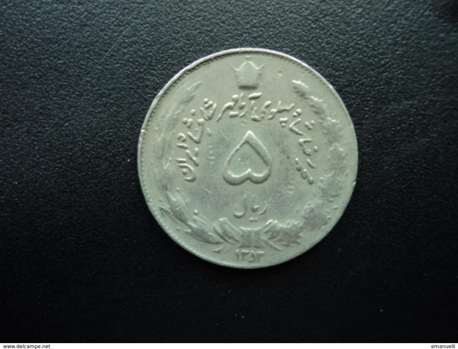 IRAN : 5 RIALS  1353 (1974)  KM 1176   TTB - Iran