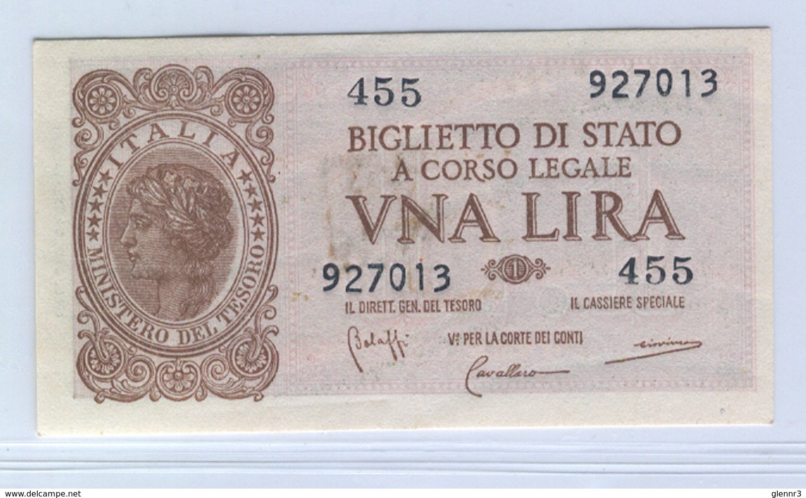 ITALY 29b 1944 1 Lira UNC - [ 1] …-1946: Königreich