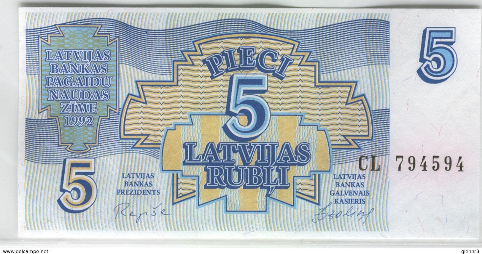LATVIA 37 1992 5 Rublis UNC - Latvia