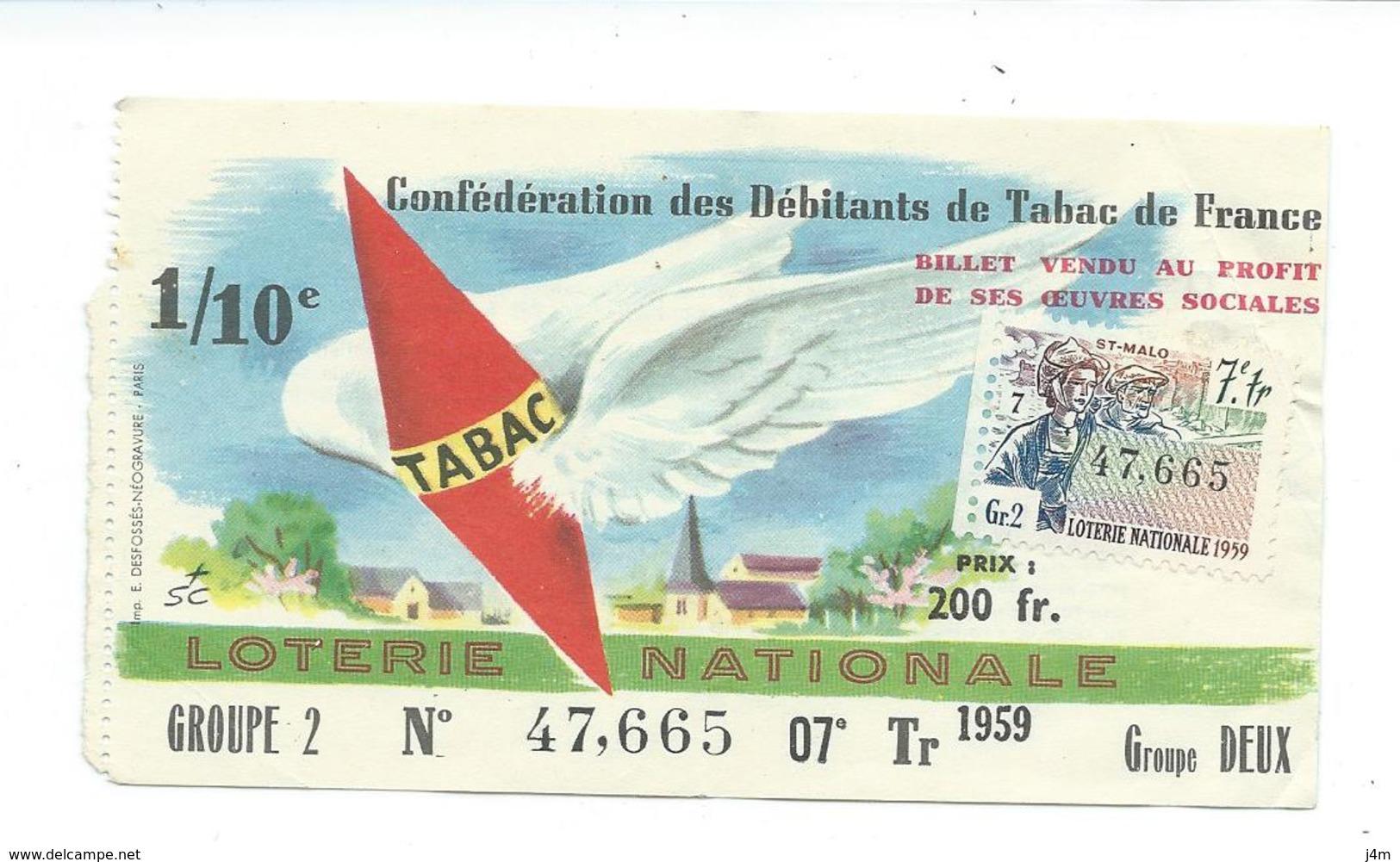BILLET LOTERIE NATIONALE 1959..Débitants De Tabac., Timbre Saint Malo, TR 7 GR 2 - Billets De Loterie
