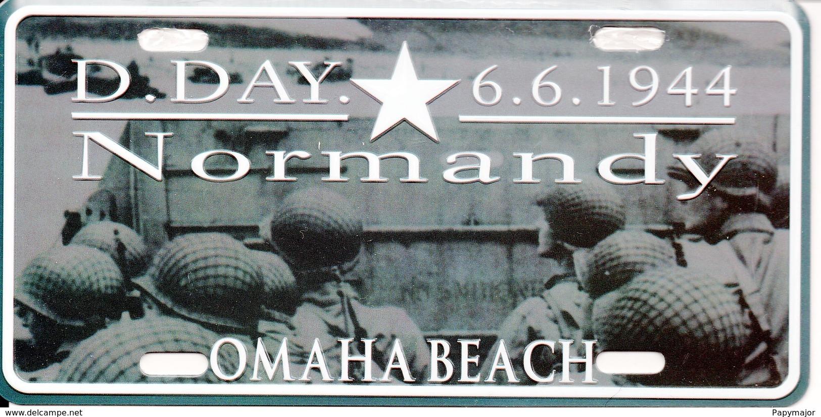 WW2 - Plaque Immatriculation Véhicule - D.DAY 6.6.1944 -NORMANDY - OMAHA BEACH - 1939-45