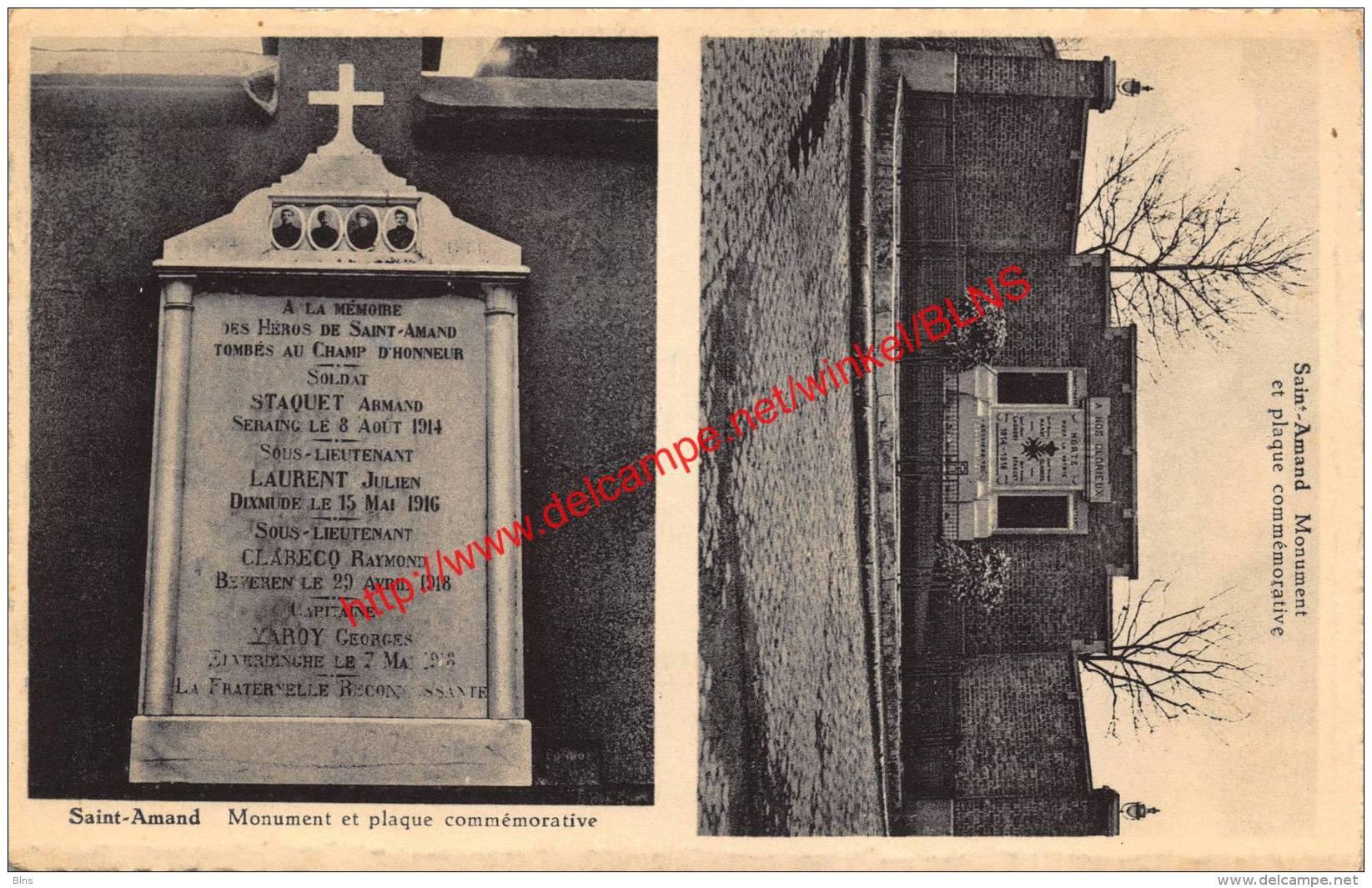 Monument Et Plaqu Commémorative - Sint-Amands - Sint-Amands