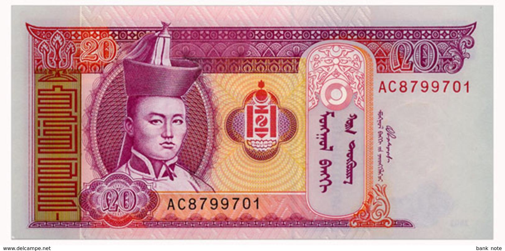 MONGOLIA 20 TUGRIK 2002 Pick 63b Unc - Mongolia