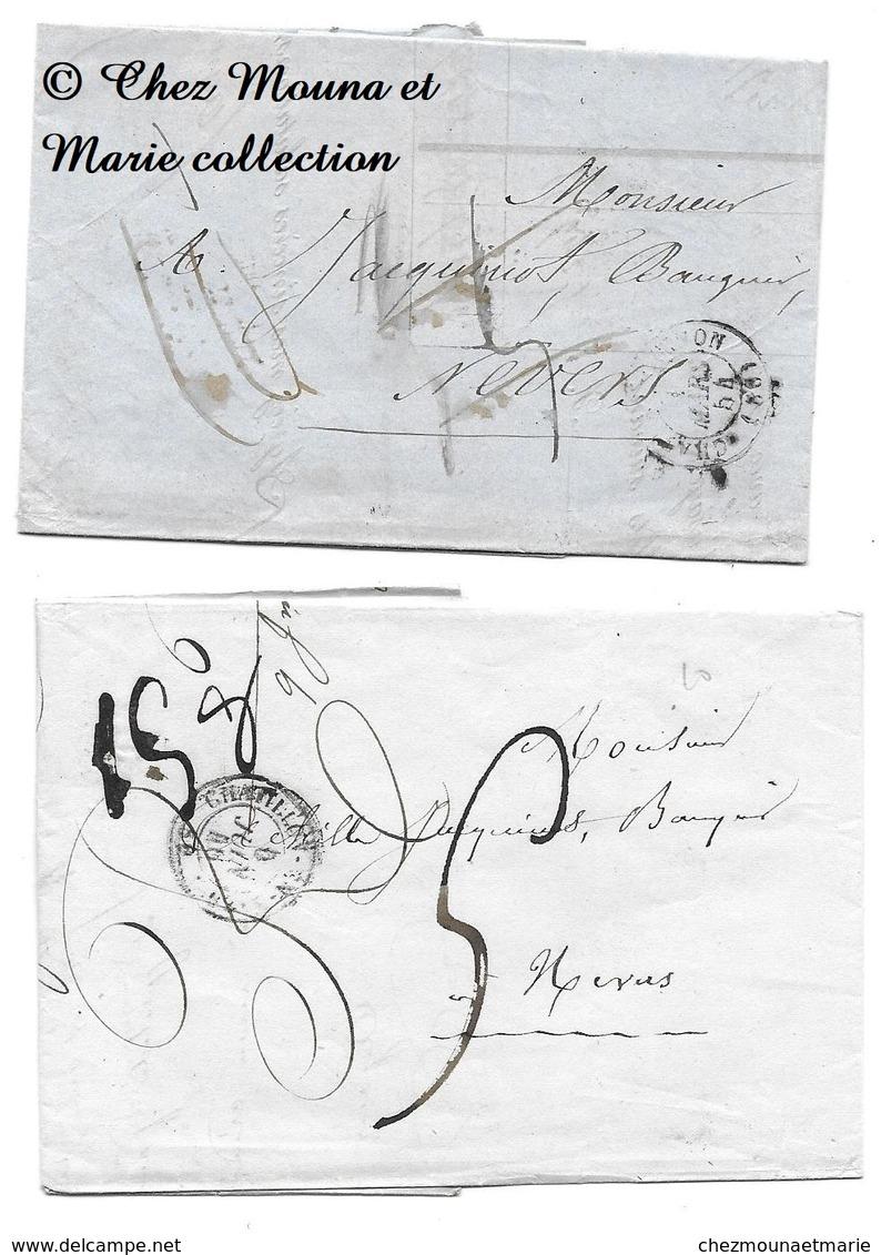 JACQUINOT NEVERS - NIEVRE - LOT DE 2 - MARQUE POSTALE LETTRE MISSIVE - Marcophilie (Lettres)