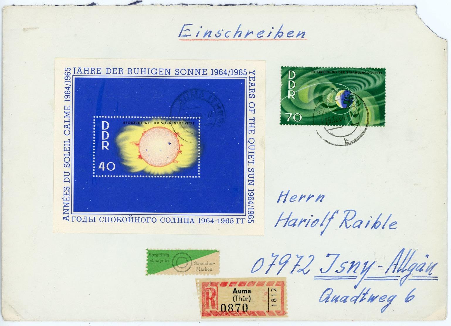 Block 21 Mit Nr. 1083 Einschreiben Vom Ersttag Nach Isny - DDR