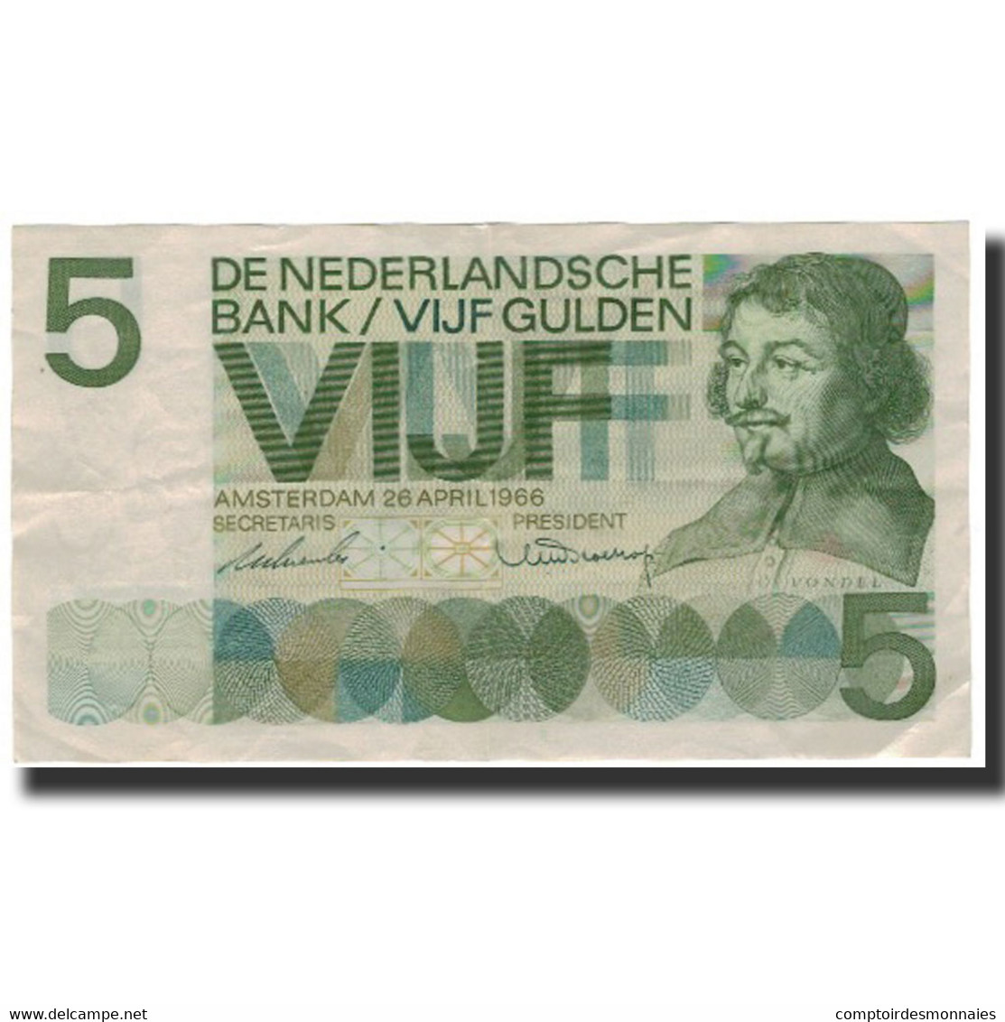 Billet, Pays-Bas, 5 Gulden, 1966-04-26, KM:90a, TTB+ - [2] 1815-… : Reino De Países Bajos