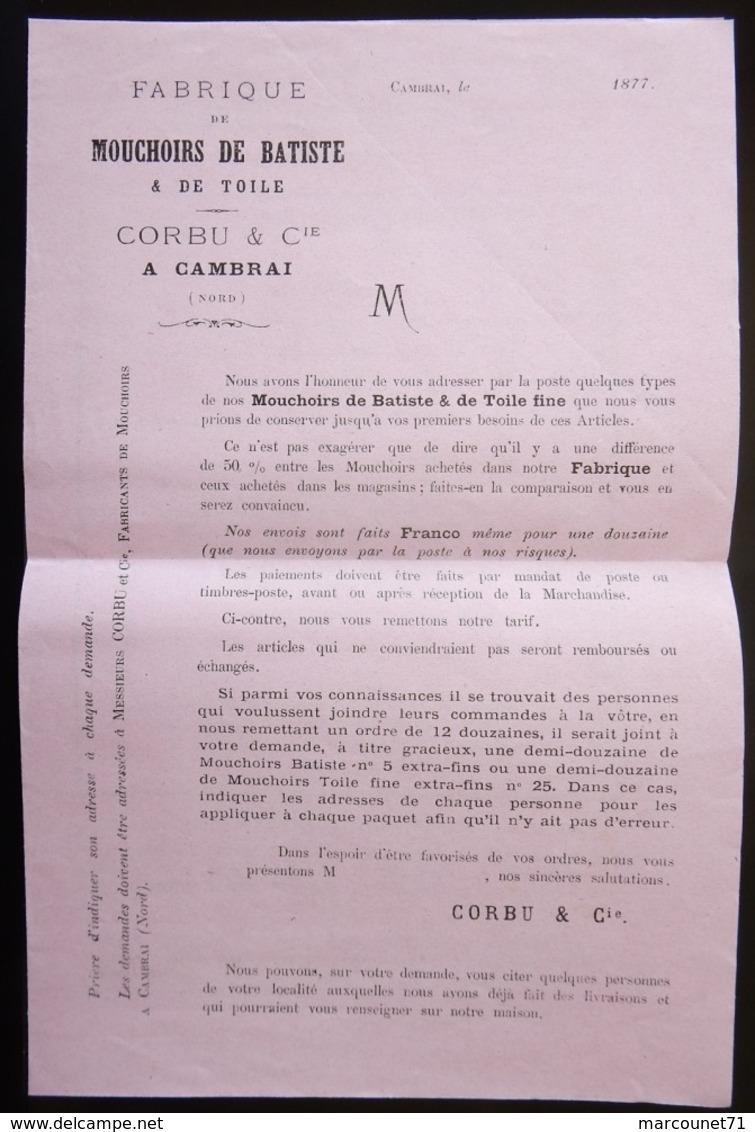 ANCIEN ET RARE DOCUMENT PUBLICITAIRE 1877 FABRIQUE TARIFS DES MOUCHOIRS DE BATISTE CORBU CAMBRAI - Advertising
