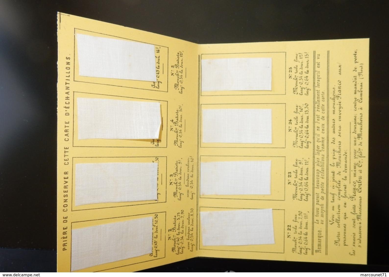 ANCIEN ET RARE DOCUMENT PUBLICITAIRE 1877 FABRIQUE TARIFS DES MOUCHOIRS DE BATISTE CORBU CAMBRAI - Werbung