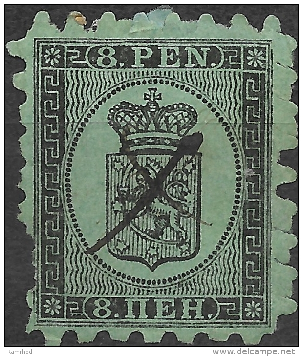 FINLAND 1866 Arms - 8p - Black On Green PEN CANCELLATION - Used Stamps