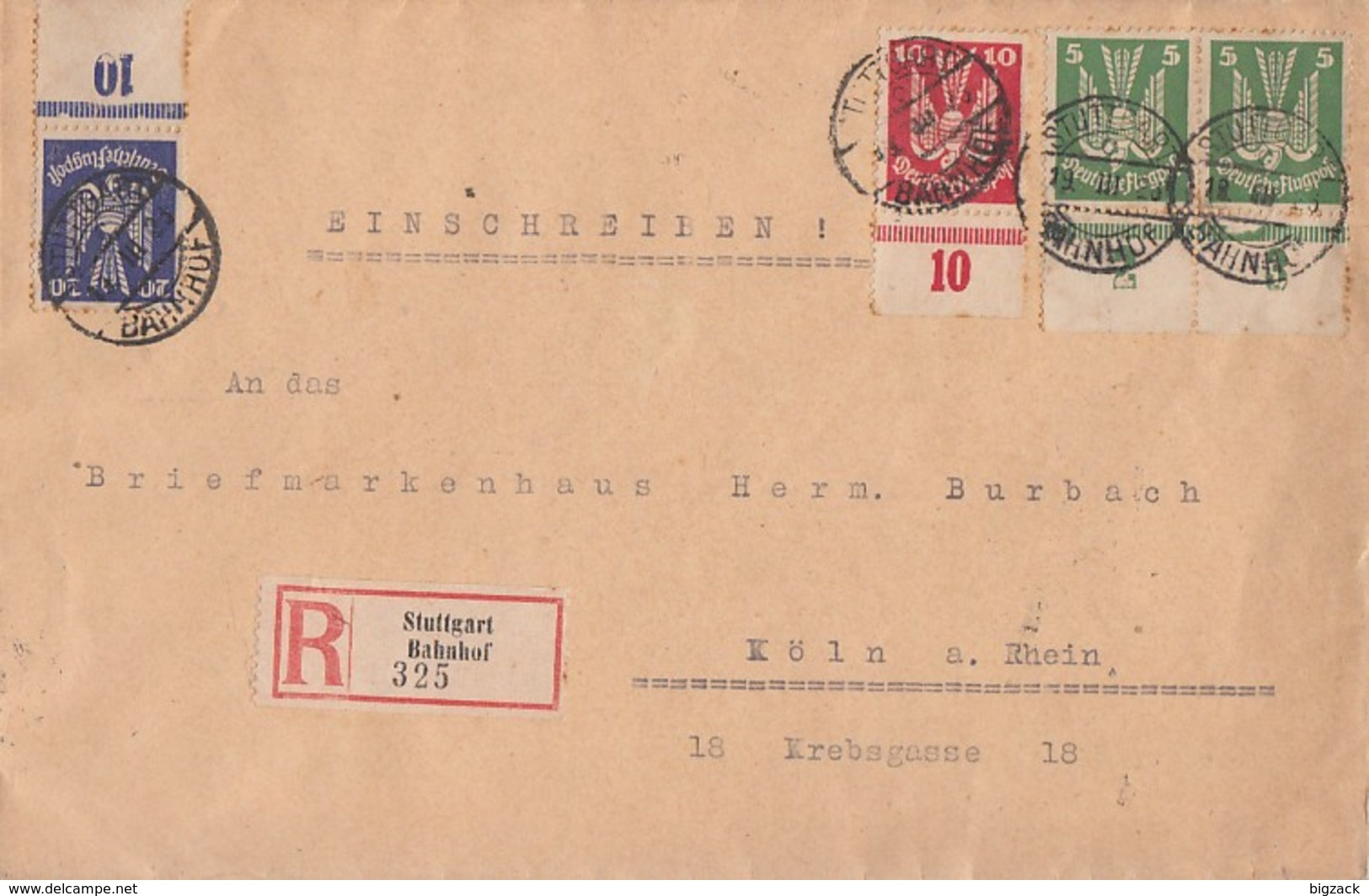 DR R-Brief Mif Minr.2x 344 UR,345 UR,346 UR Stuttgart Bahnhof 19.3.26 - Deutschland