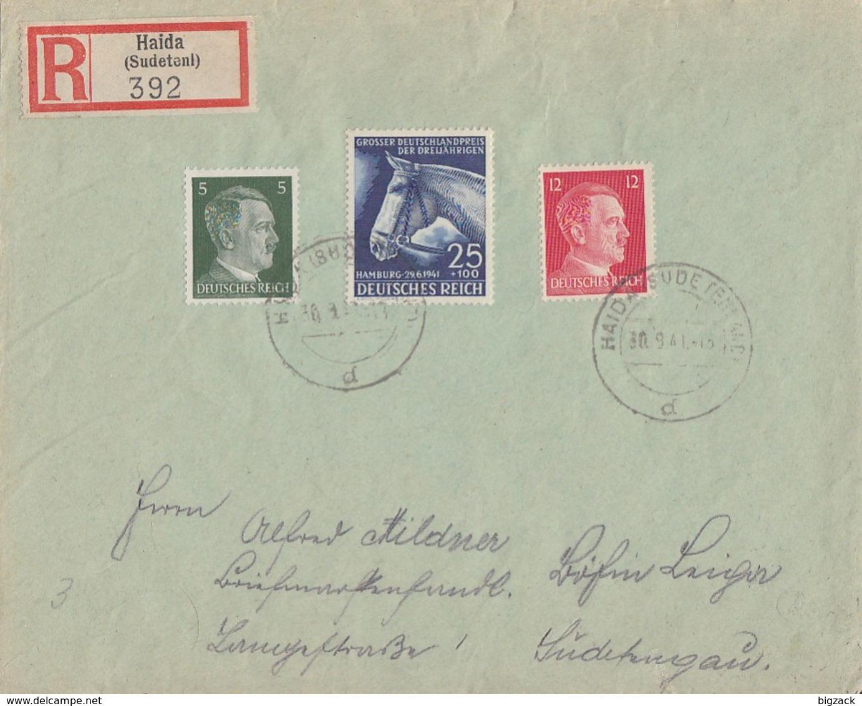 DR R-Brief Mif Minr.779,784,788 Haida 30.9.41 Vignette Ansehen !!!!!!!!! - Briefe U. Dokumente