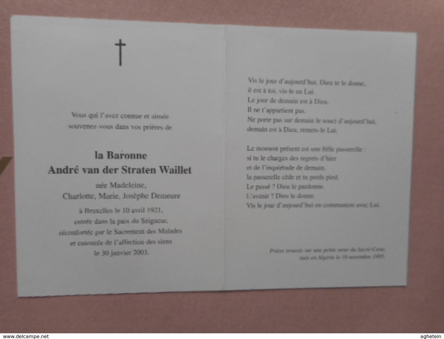 D.P.-ADEL-LA BARONNE ANDRE Van Der STRATEN WAILLET°BRUXELLES 10-4-1921+30-1-2003 - Religion & Esotericism