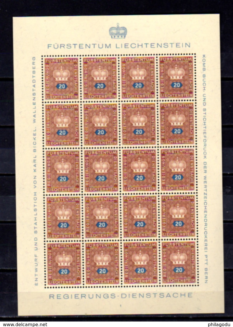 1950  Liechtenstein, Service, Armoirie, SE 35 / 44** En Feuillet De 20, Cote 165 €, - Neufs