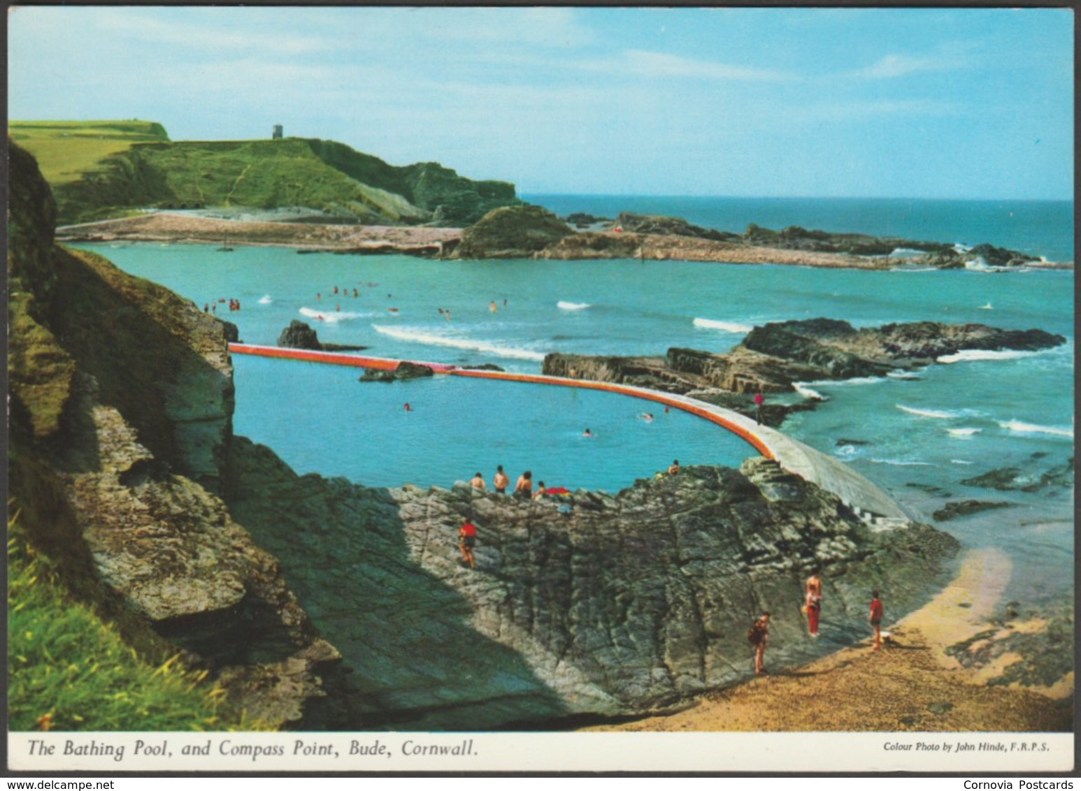 The Bathing Pool And Compass Point, Bude, Cornwall, C.1970s - John Hinde Postcard - England