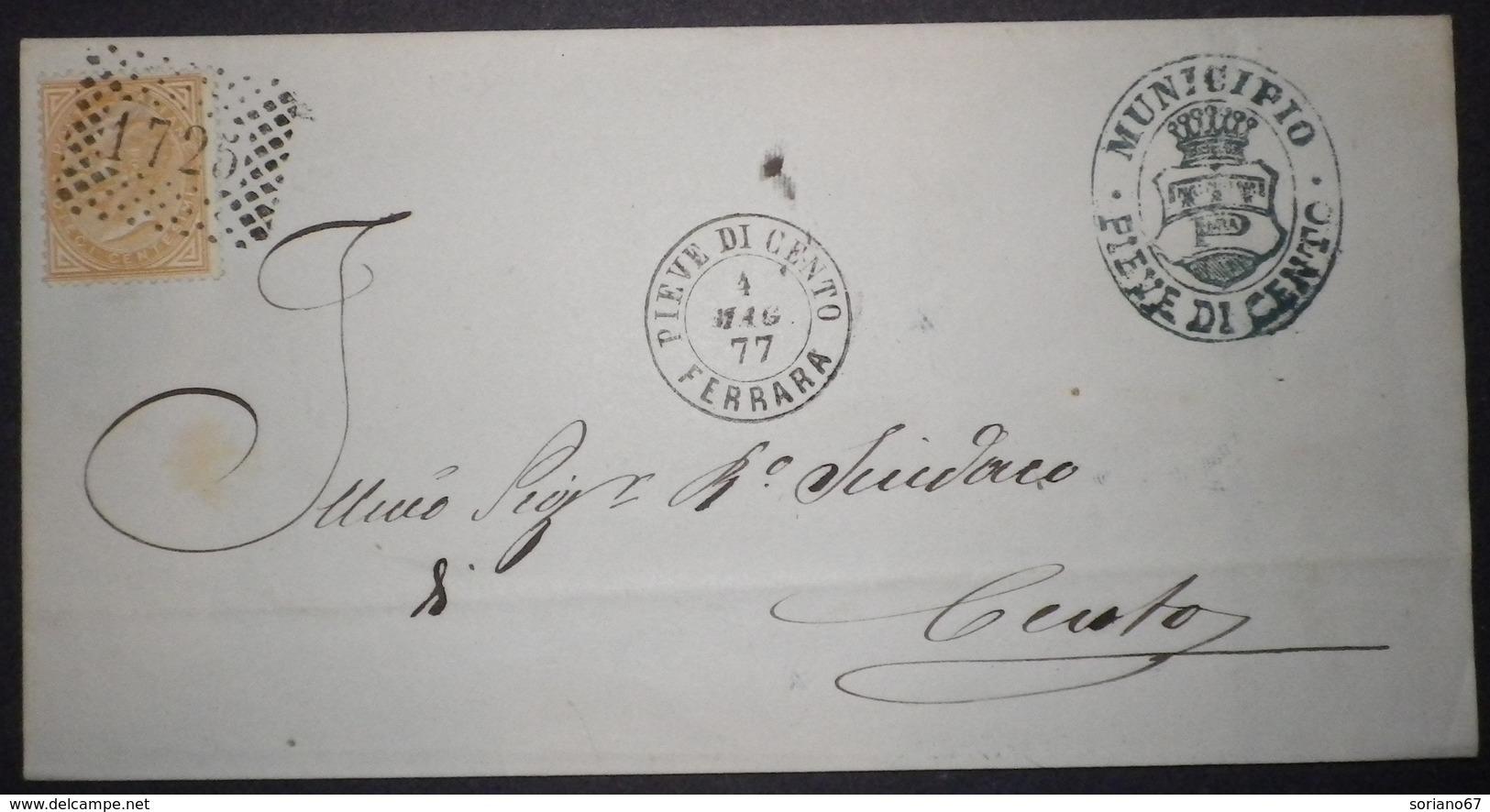 Annullo Numerale PIEVE DI CENTO Ferrara Numerali Emilia - 1861-78 Vittorio Emanuele II