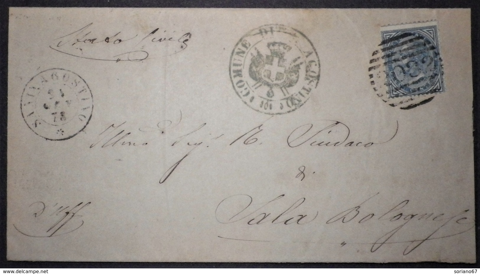 Annullo Numerale SANT'AGOSTINO Ferrara Numerali Emilia - 1861-78 Vittorio Emanuele II