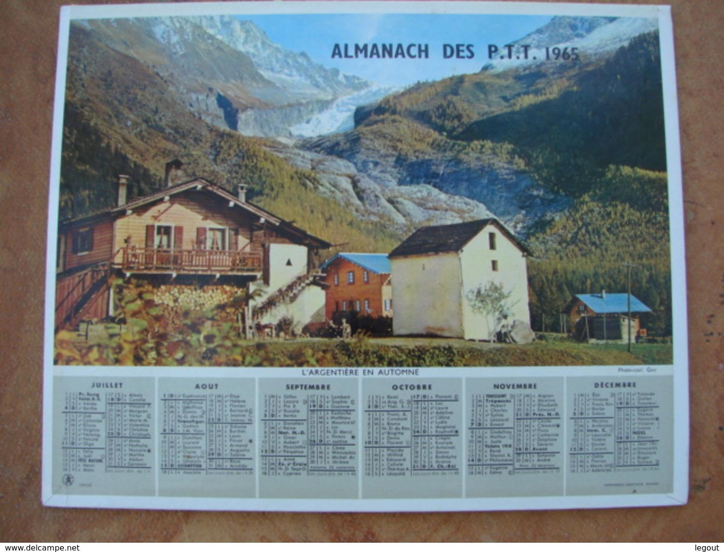 CALENDRIER DES PTT 1965 - Feuillets Avec Cartes & Horaires Pornic & L'Argentière En Automne - Calendriers