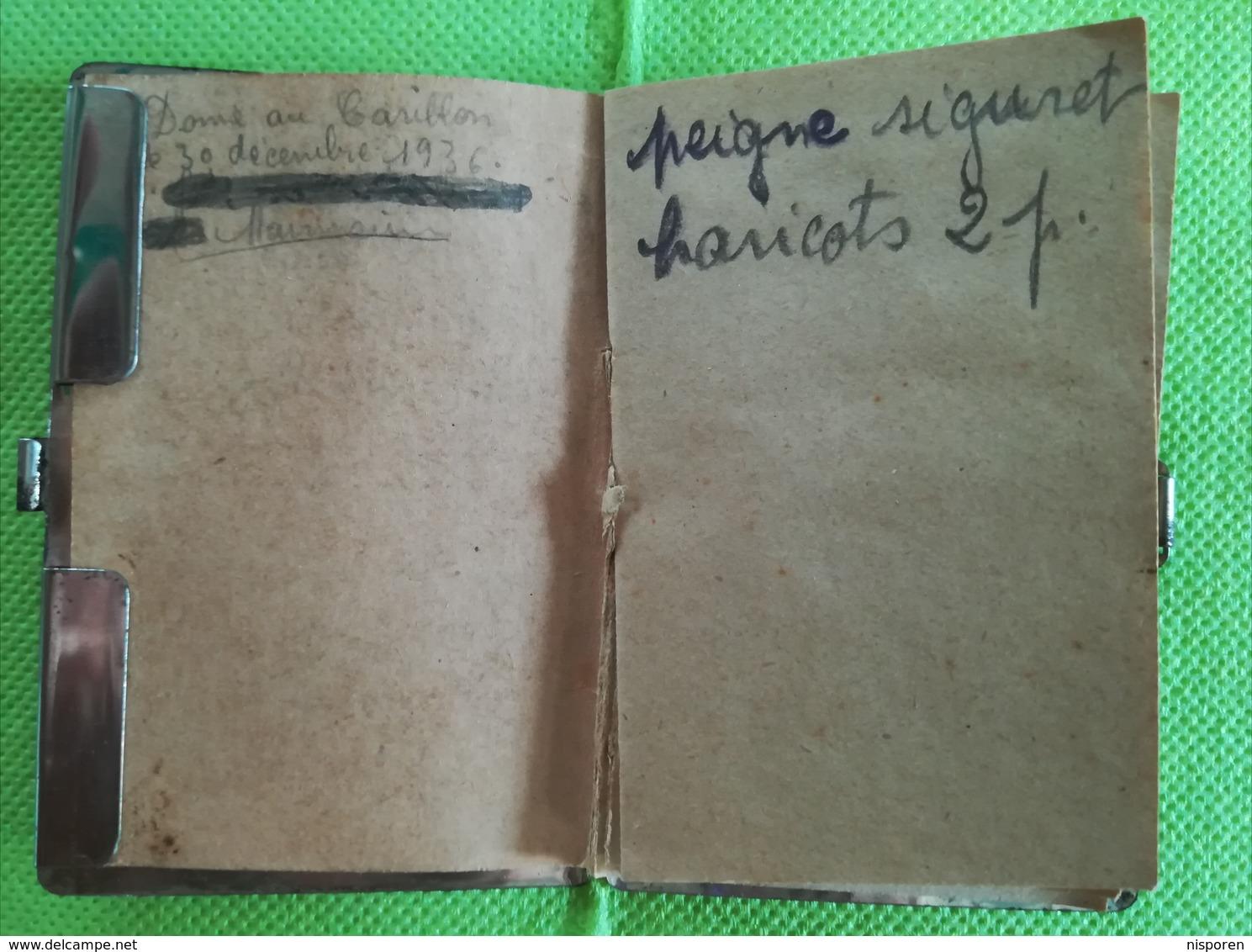 Au Carillon Auxerre Nevers - Petit Carnet Protégé Dans Un étui Art Déco - 1936 - Autres
