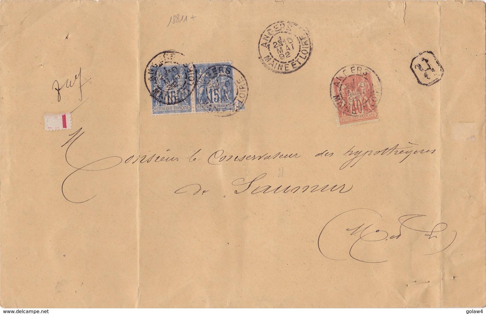 18811# SAGE LETTRE RECOMMANDEE Obl ANGERS MAINE ET LOIRE 1892 Pour SAUMUR - Postmark Collection (Covers)