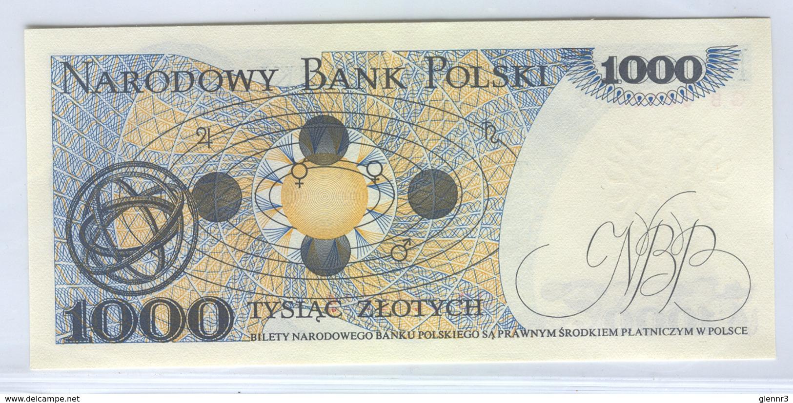POLAND 146c 1982 1000  Zlotych Copernicus UNC - Poland
