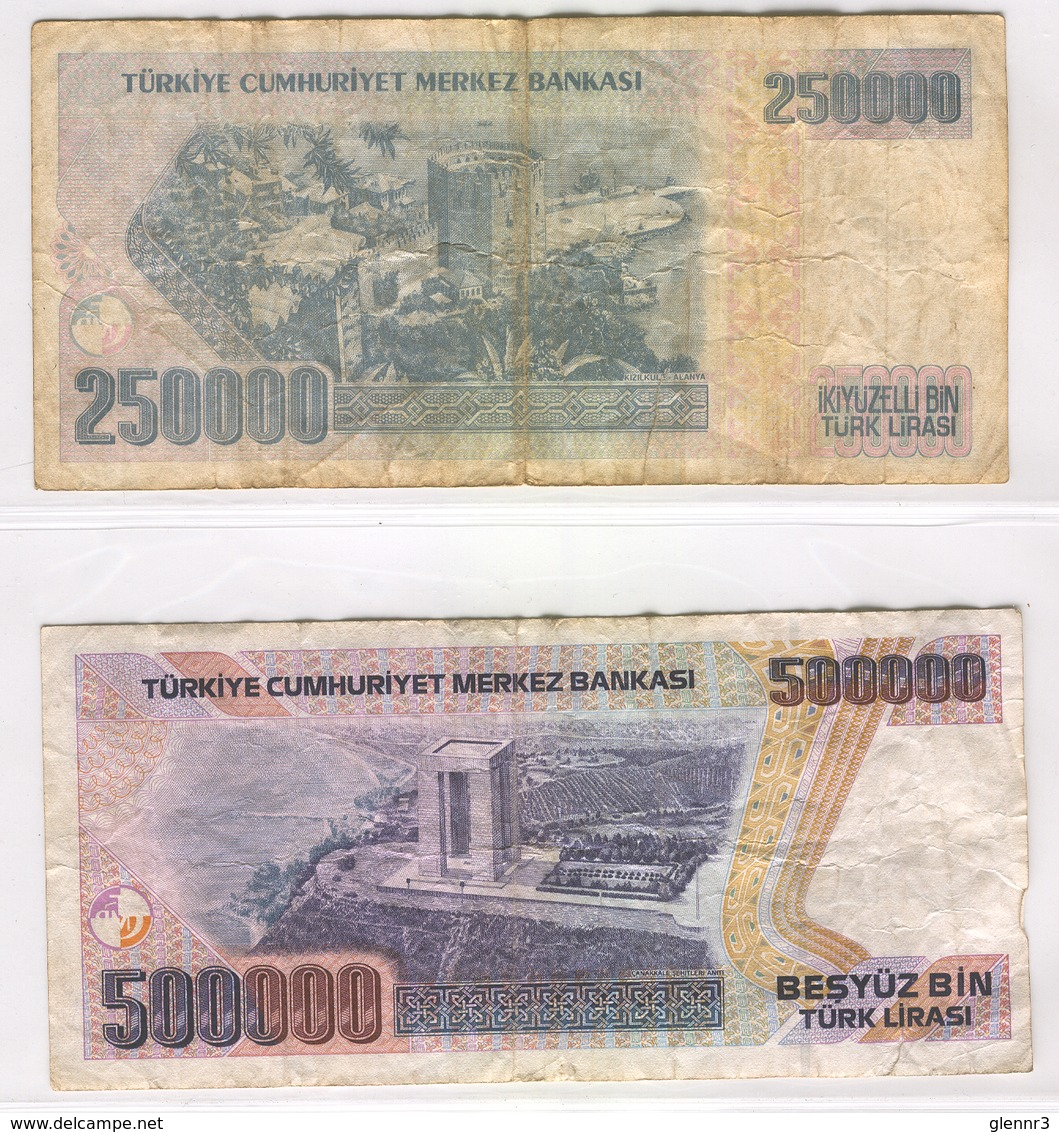 TURKEY 207-208 1990 250000-500000 Lirasi Used Lot 2 - Turkey