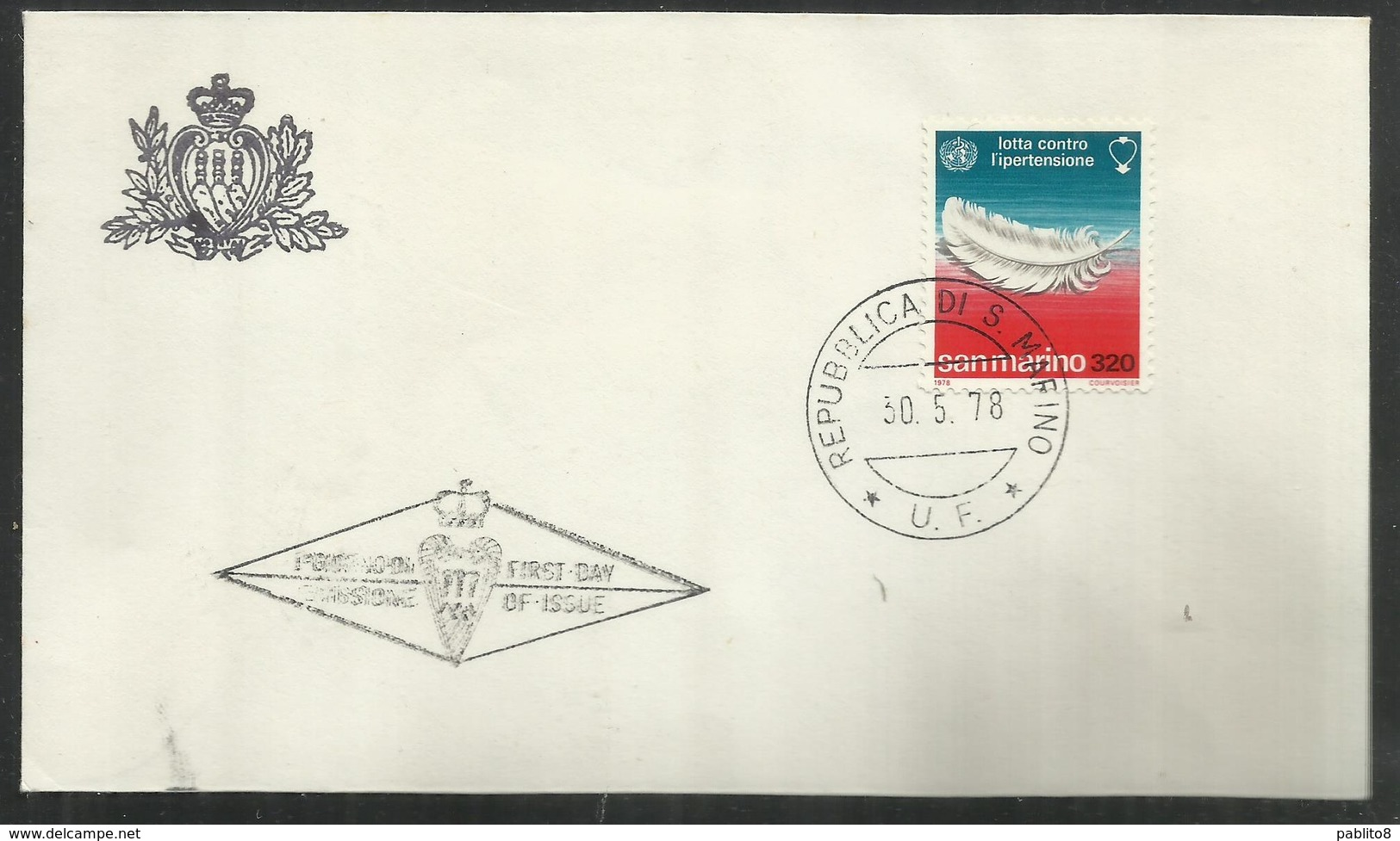 REPUBBLICA DI SAN MARINO 1978 LOTTA CONTRO L'IPERTENSIONE LIRE 320 FDC - FDC