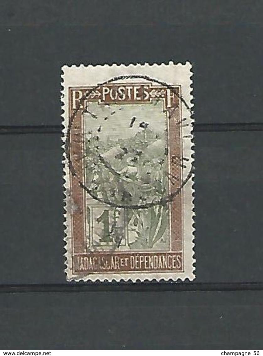 Variétés 1908  N° 96 MADAGASCAR ET DEPENDANTES RF 1C OBLIT DOS CHARNIERE - Madagaskar (1889-1960)