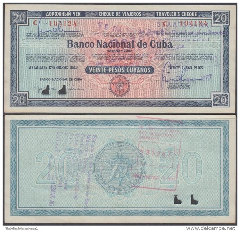 1985-BK-181 CUBA 20$ 1985 CHEQUE VIAJERO. TRAVELER CHECK UNC ANULADOS. - Cuba