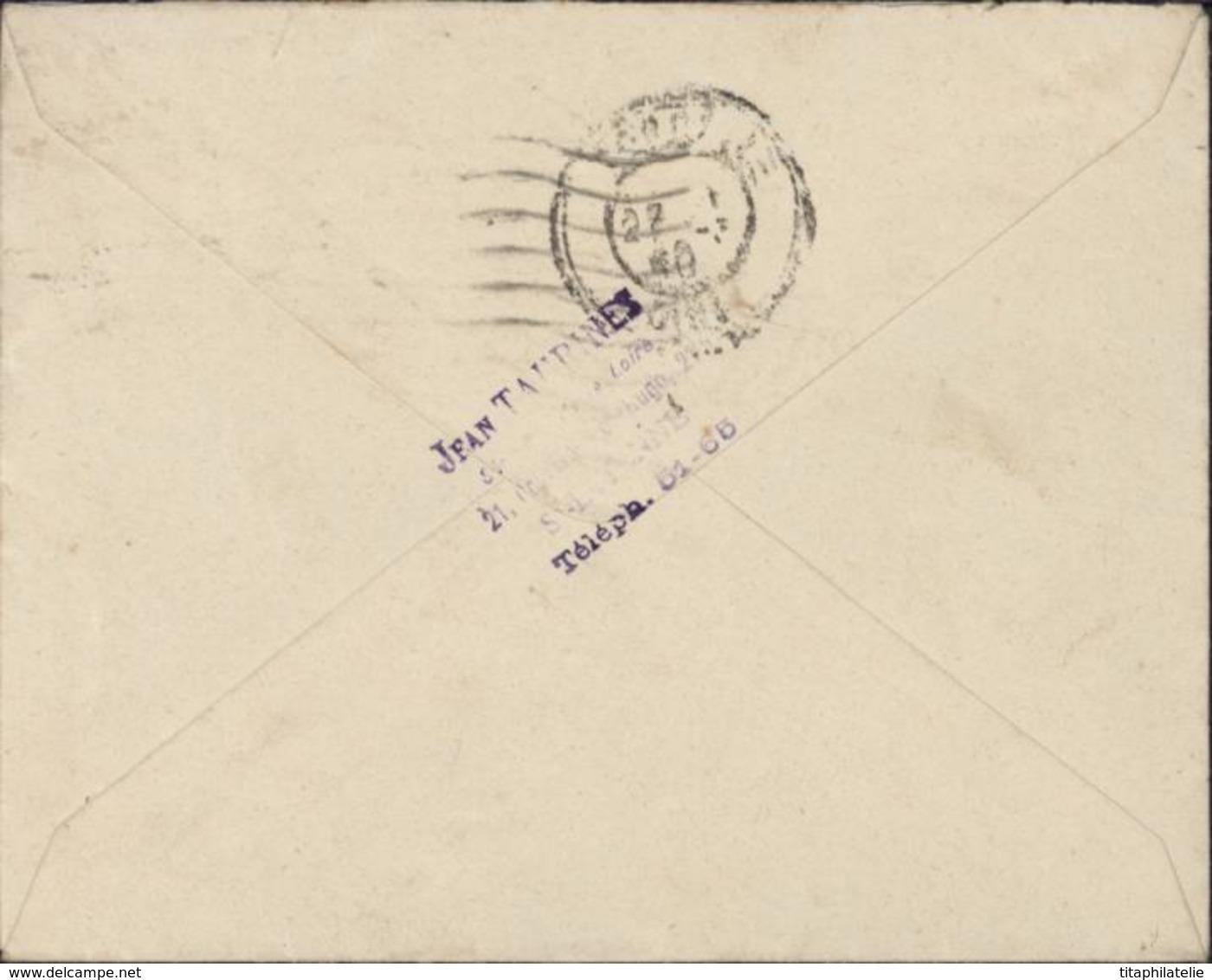 Guerre 40 Enveloppe Sénat Commission Des Finances République Française Jean Taurines Loire YT 432 Iris Perforé S Sénat - Marcophilie (Lettres)