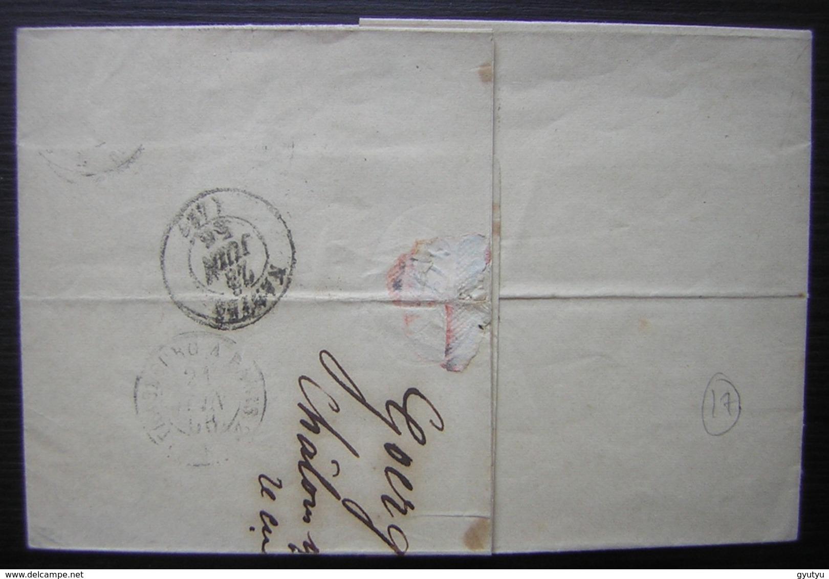 1856 Chalons Sur Marne J Goerg, Cachet à Date D'Epernay, Lettre Pour Nantes - 1849-1876: Classic Period