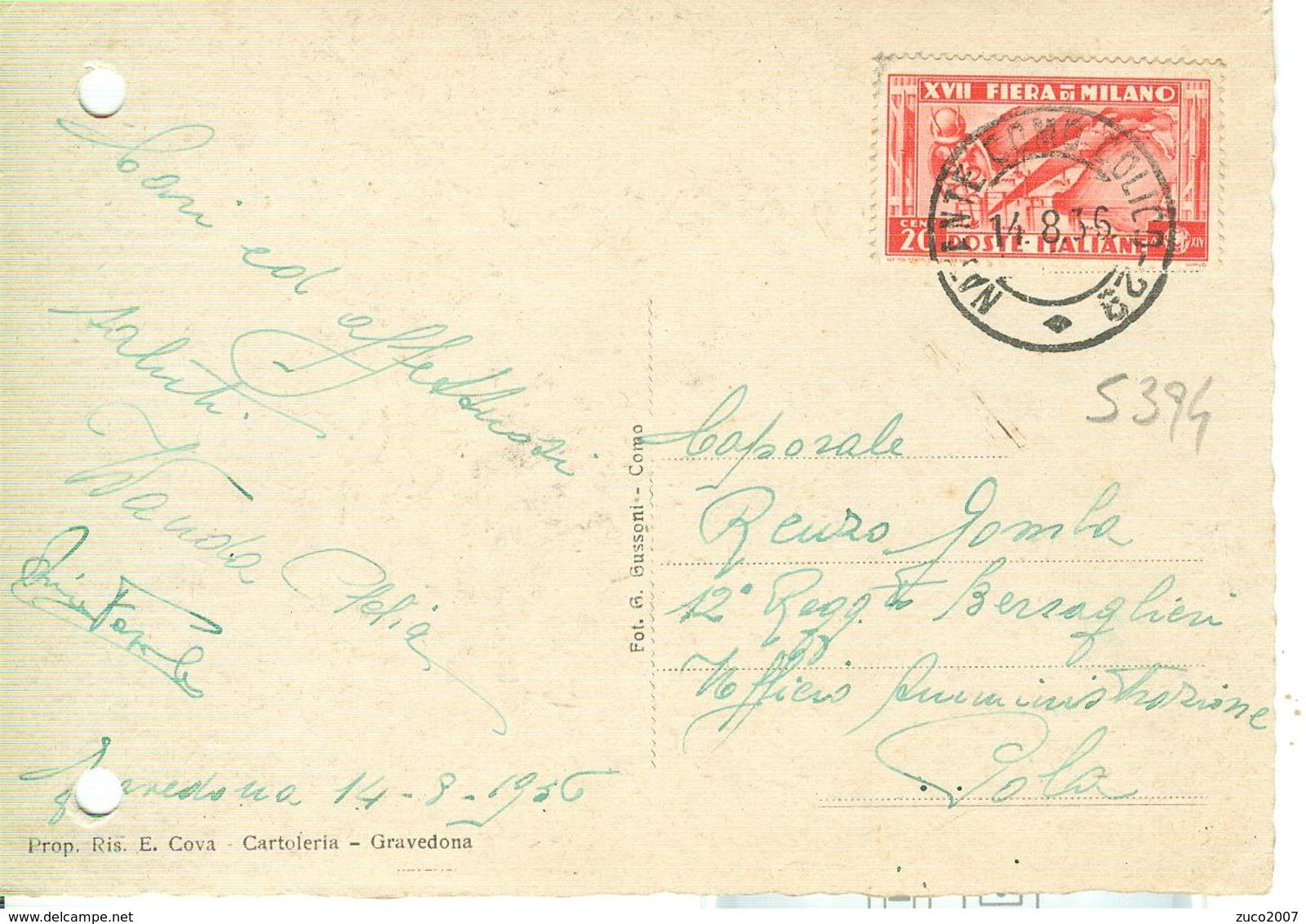 """""""FIERA DI MILANO XVII"""" Cent.20 (S 394),TARIFFA CARTOLINA,1936, PER POLA-TIMBRO POSTE NATANTE COMO-COLICO 29-GRAVEDONA - Storia Postale"""