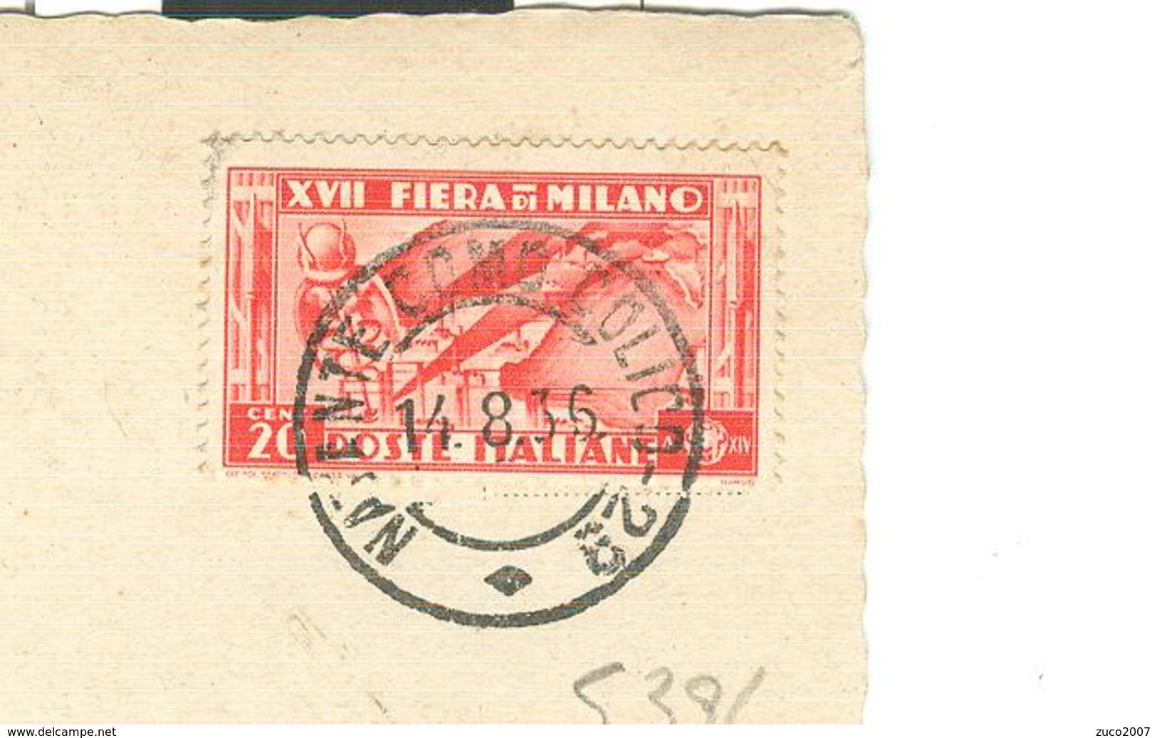 """""""FIERA DI MILANO XVII"""" Cent.20 (S 394),TARIFFA CARTOLINA,1936, PER POLA-TIMBRO POSTE NATANTE COMO-COLICO 29-GRAVEDONA - 1900-44 Vittorio Emanuele III"""