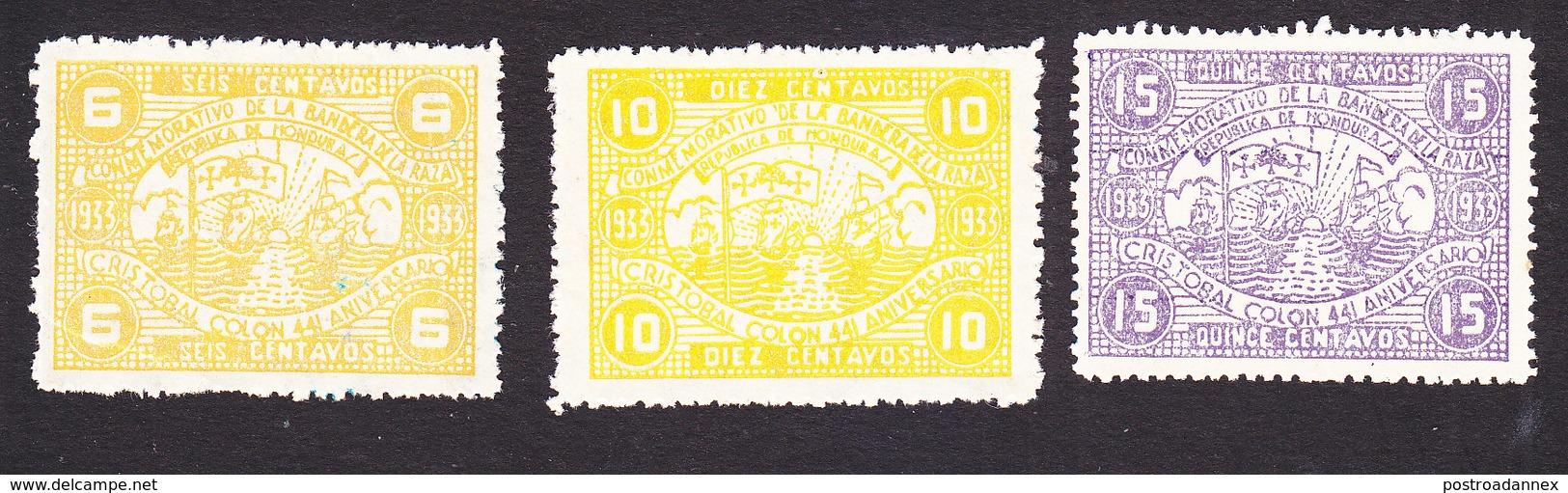 Honduras, Scott #323-325, Mint Hinged, Columbus' Fleet, Issued 1933 - Honduras