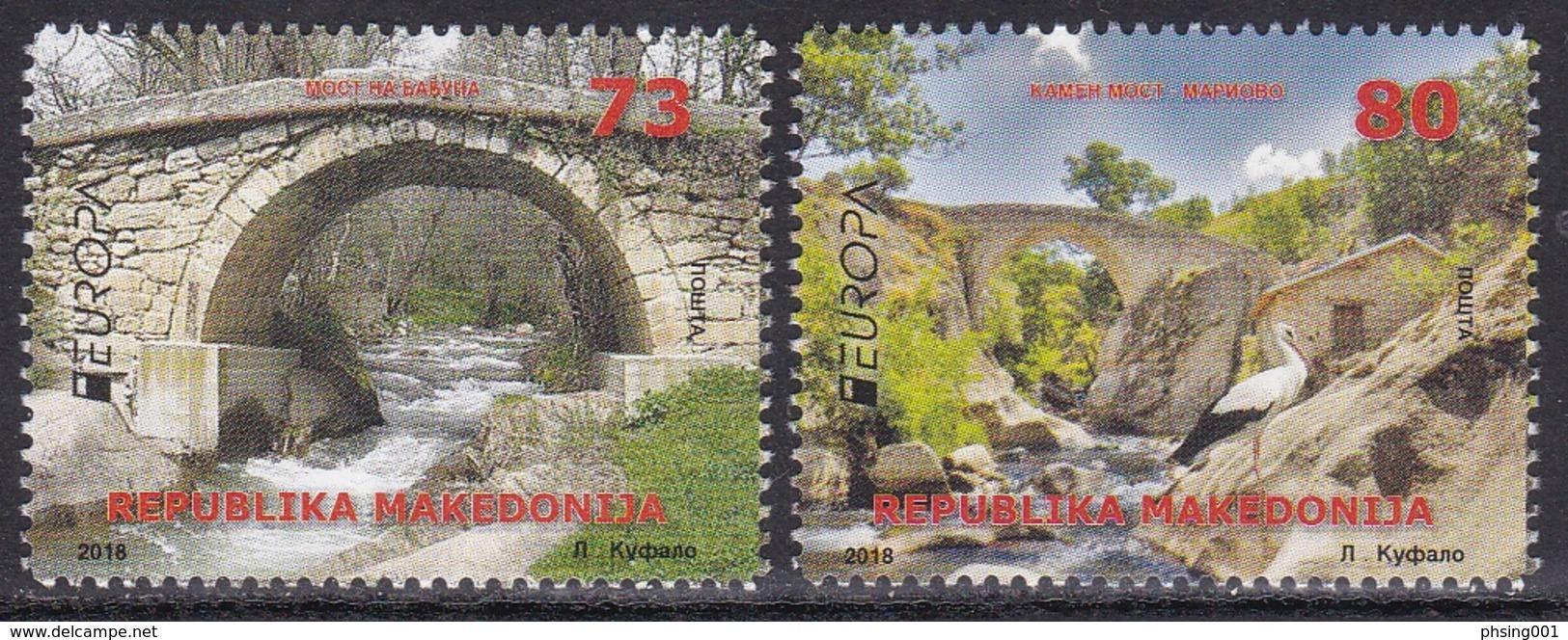 Macedonia 2018 Europa CEPT Bridges Bruecken Ponts, Architecture, Fauna, Birds, Stork, Set MNH - 2018