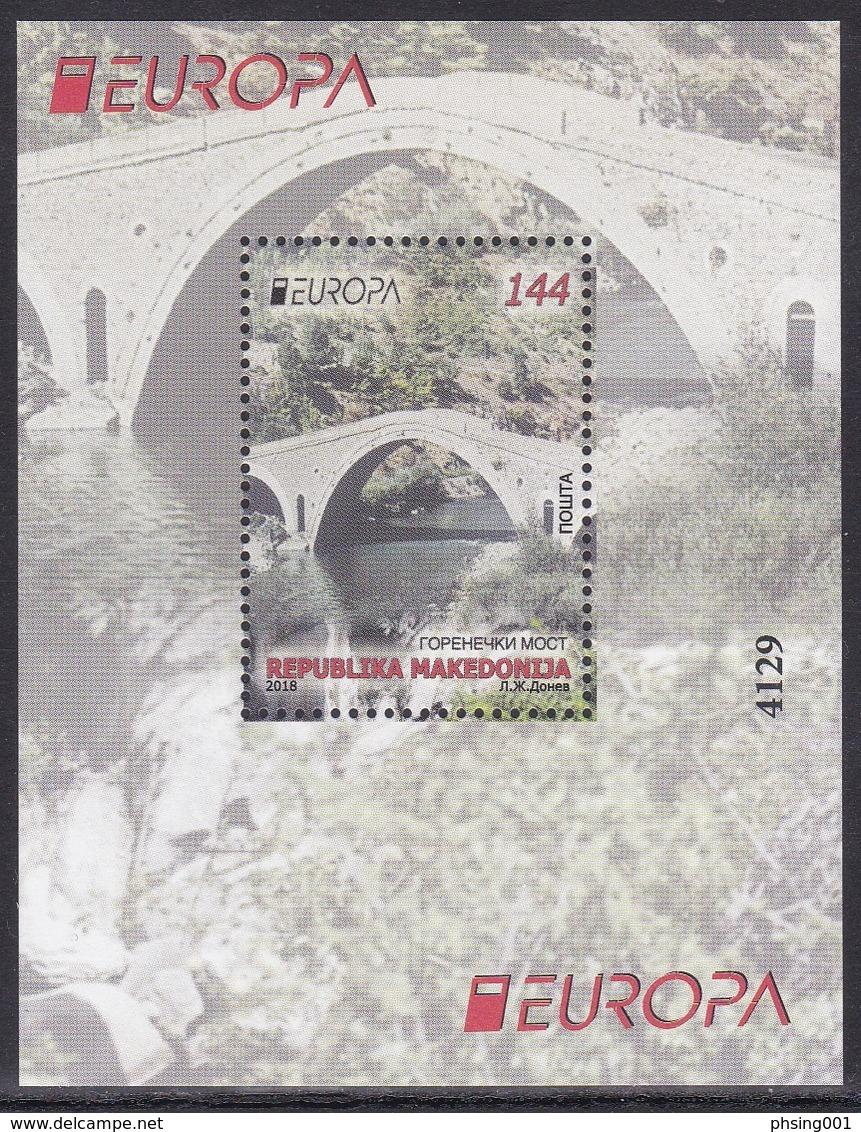 Macedonia 2018 Europa CEPT Bridges Bruecken Ponts, Architecture, Block, Souvenir Sheet MNH - 2018