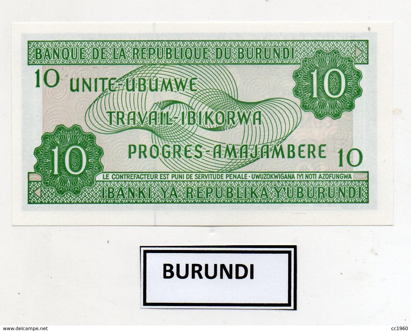 Burundi - 2005 - Banconota Da 10 Franchi - Nuova -  (FDC9822) - Burundi