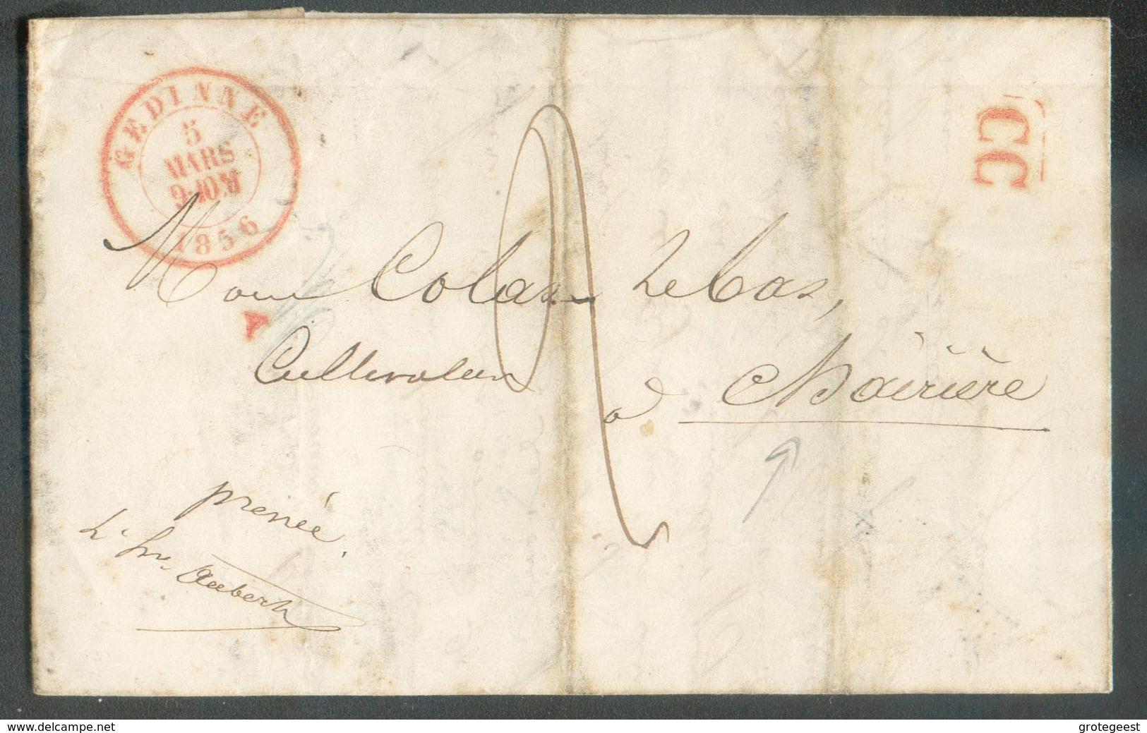 LAC De GEDINNE Le 5 Mar 1856 + Griffe Rouge CC (correspondance Cantonale) Vers Chairière - 12778 - 1830-1849 (Belgique Indépendante)