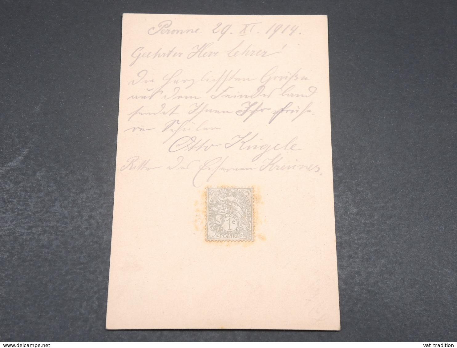 ALLEMAGNE - Carte En Feldpost De Peronne En 1914 - L 17247 - Allemagne