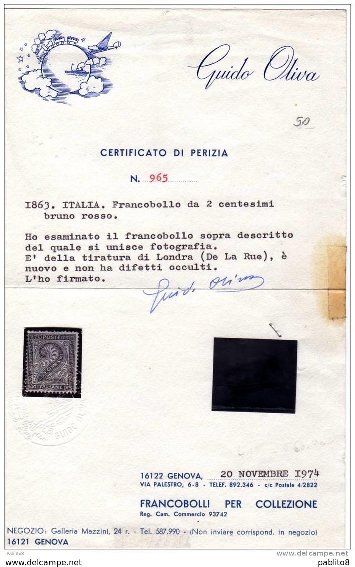 ITALIA REGNO ITALY KINGDOM 1863 VITTORIO EMANUELE CIFRA CENT. 2c LONDRA MLH DISCRETAMENTE CENTRATO - 1861-78 Victor Emmanuel II