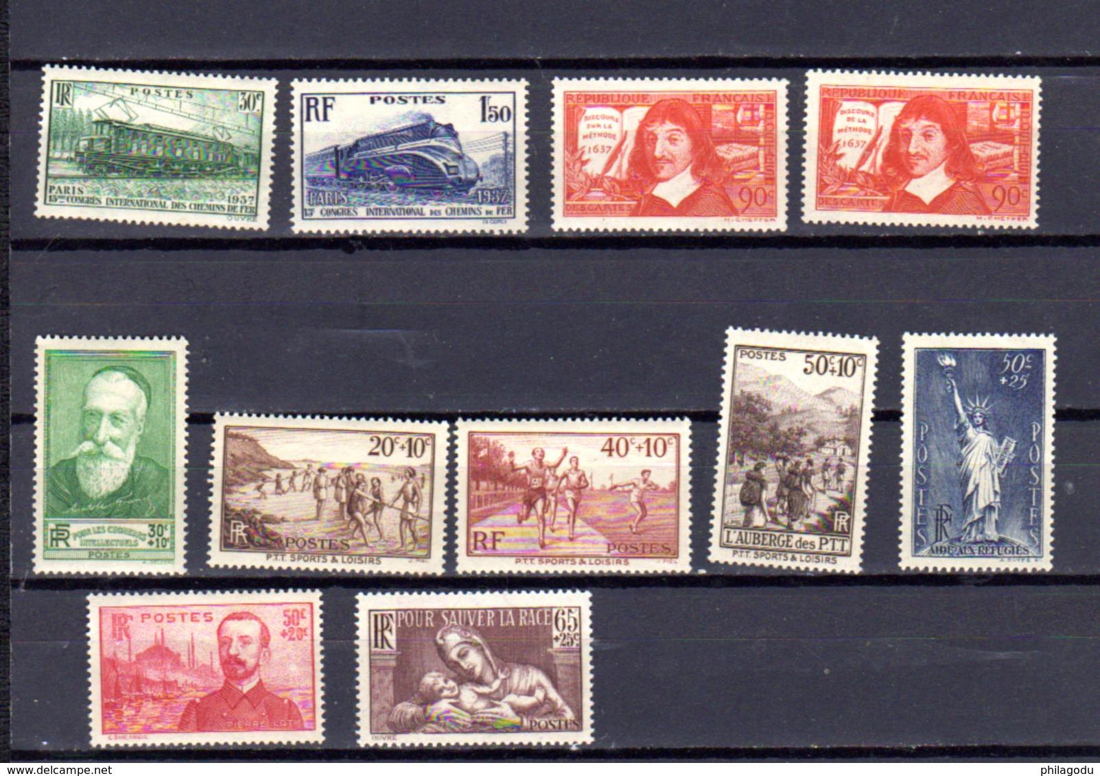 1937    France, Locomotives, Descartes, Sports, Etc, Entre 339 Et 356**, Cote 74 €, - Neufs