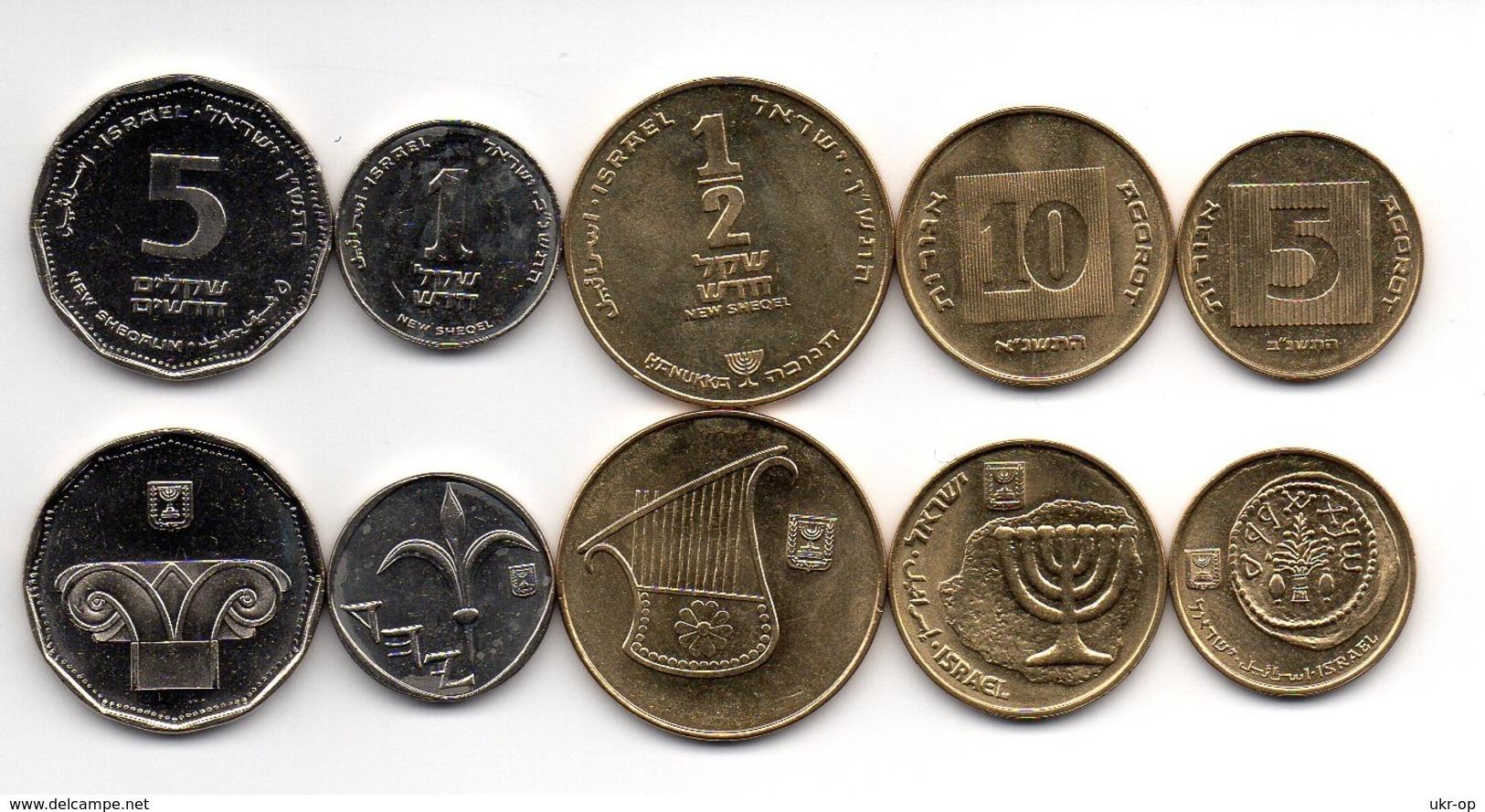 Israel - Set 5 Coins 5 10 1/2 Agorot 1 5 Sheqalim 1987 AUNC Ukr-OP - Israël