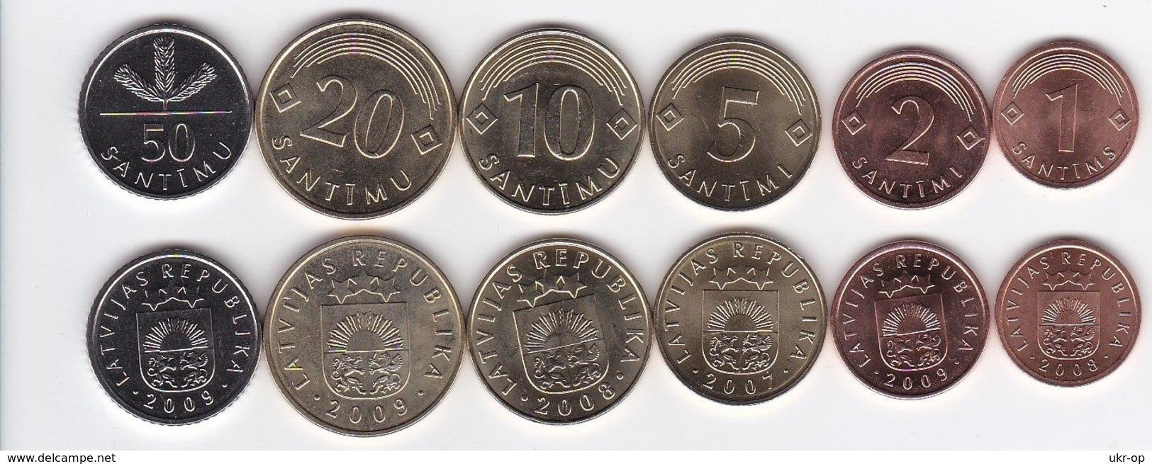 Latvia - 1 2 5 10 20 50 Santimu 2007 - 2009 UNC Set 6 Coins Ukr-OP - Lettland
