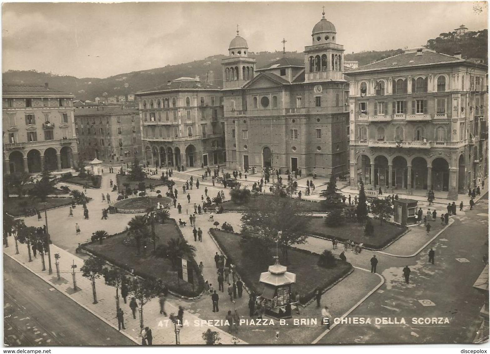 X2383 La Spezia - Piazza Benedetto Brin E Chiesa Della Scorza / Viaggiata 1952 - La Spezia